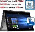 """Dell Inspiron 2-in-1 13.3"""" (2017 Newest) Full HD Touchscreen Convertible Laptop, Intel Core i5-7200U (3M, up to 3.1GHz), 8GB DDR4 RAM, 256GB SSD, Backlit Keyboard, Wi-Fi, Bluetooth, Webcam, Win 10"""