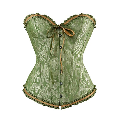 (frawirshau Women's Lace Up Boned Overbust Corset Lingerie Bustier Bodyshaper Top Green)