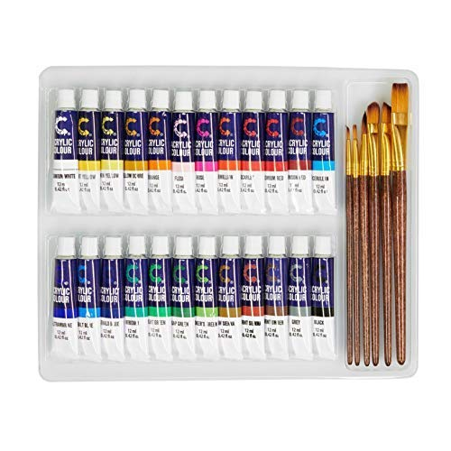 Acrylic Paint Set & Brushes with Rich Pigments in 24 Vivid Colors with 6 Pro Brushes is Great for Intermediate, Advanced and Hobby Painters from Kids Through Adults by Creative Joy (24 Paints) by Creative Joy (Image #6)