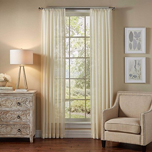 1PC VOILE SHEER PANEL DRAPE WINDOW CURTAIN FULLY STITCHED IN 55X84″ EACH PIECE IN cream