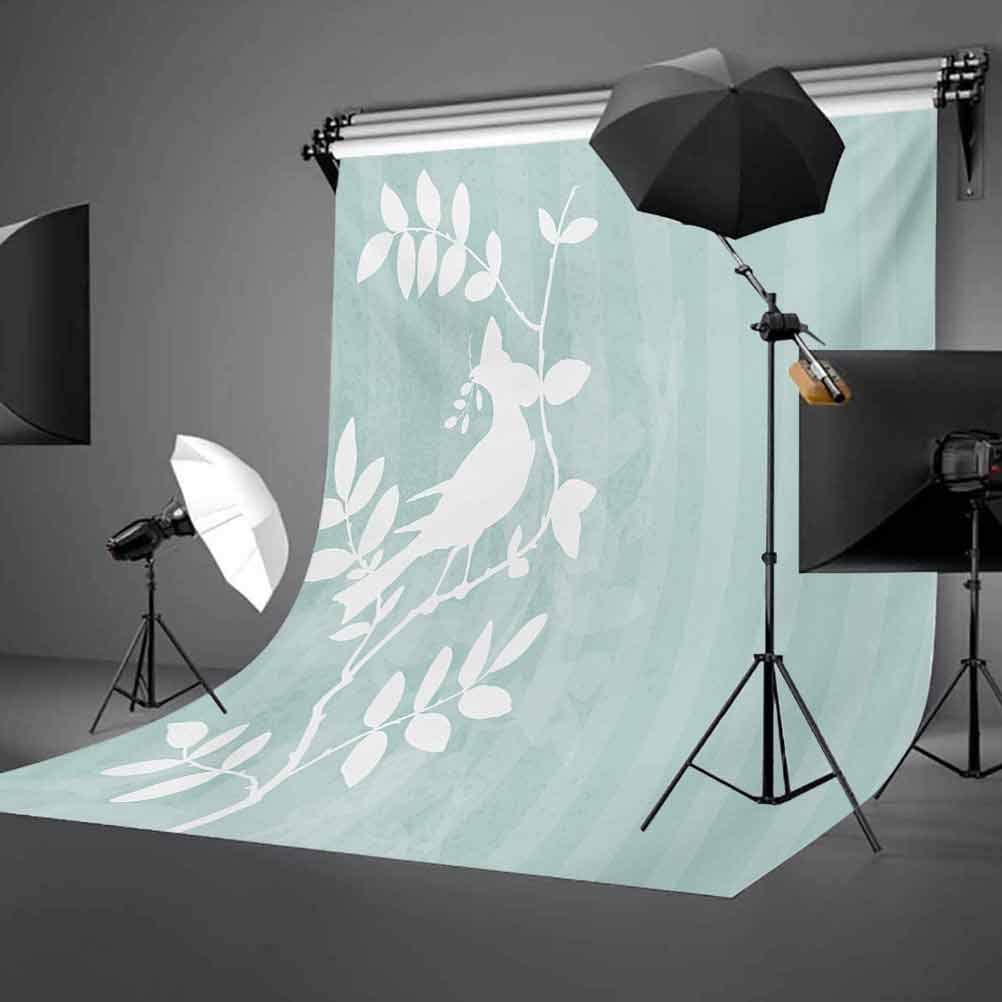 Feather 8x10 FT Backdrop Photographers,Funky Aztec Culture Toned Vibrant Feathers Plumage Folk Pattern Background for Baby Shower Bridal Wedding Studio Photography Pictures Umber Pale Green Blue