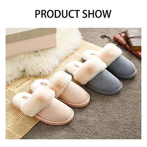 Slip on House Blue Slippers Clog Lining Outdoor amp; Real Indoor Shoes Fur Scuff OSHOW a6A8xnIn