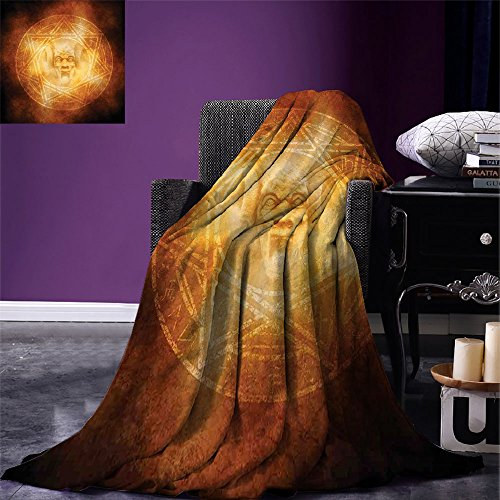 smallbeefly Horror House Digital Printing Blanket Demon Trap Symbol Logo Ceremony Creepy Scary Ritual Fantasy Paranormal Design Summer Quilt Comforter Orange by smallbeefly