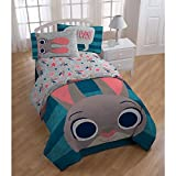 5 Piece Multi Kids Disney Zootopia Theme Comforter Twin Set, Beautiful Animated Cartoon Movie Pattern, Featuring Judy Hopps, Blue Stripe Print, Pretty Characters Printed Reversible Bedding, Vibrant