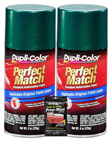 Dupli-Color Amazon Green Metallic Exact-Match Automotive Paint for Ford Vehicles - 8 oz, Bundles with Prep Wipe (3 Items)