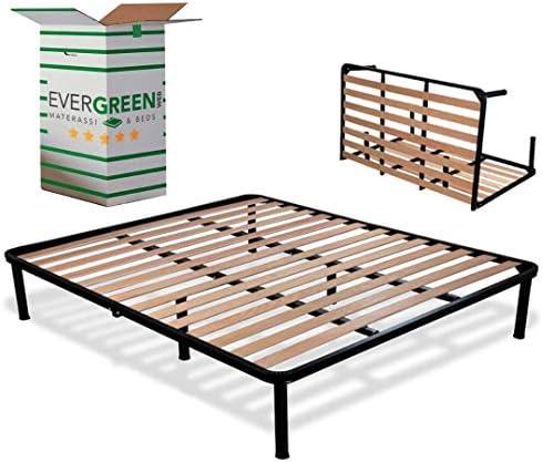EvergreenWeb - Somier Cama Plegable Doble 140 x 190 con somier de Madera ortopédico, Estructura portante Completamente de Hierro, Base de Integrado ...