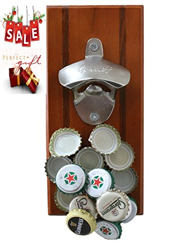 GeraH Magnetic Wall Mounted Beverage Bottle Opener with Cap Catcher for No Mess Convenience Easy to Hang Hardware Included Premium Quality Bonus eBook For Sale