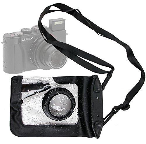 DURAGADGET Compact Camera Case in Black for Panasonic Lumix LX5, FT20, TZ30, DMC-XS1, DMC-F5, DMC-FH10, DMC-TS25 & DMC-Z9 - Premium Quality, Water-Resistant Pouch with Zoom Lens Compartment, Cross-Body Strap & Air-Locked Seals by DURAGADGET