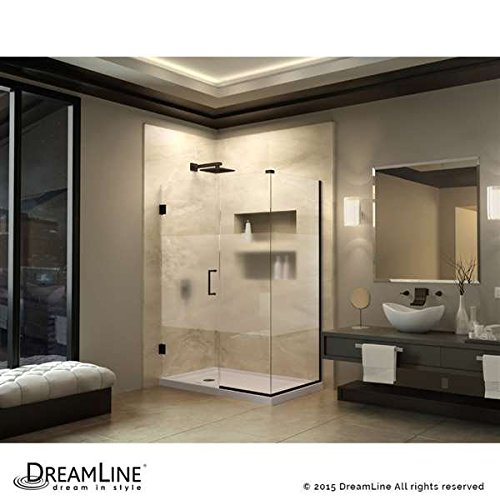 "DreamLine Unidoor Plus 46""W x 30-3/8""D x 72"" H Hinged Shower Enclosure, Half Frosted Glass Door, Oil Rubbed Bronze Finish Hardware 70%OFF"