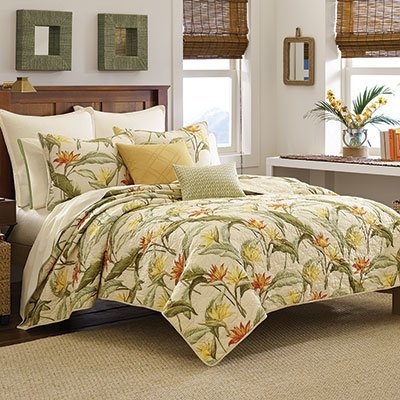 Tommy Bahama Twin Quilt Birds of Paradise, Ivory ()