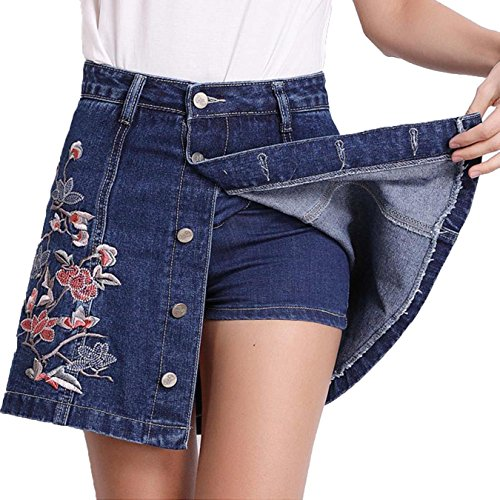 Alberson Women Summer Floral Embroidery High Waist Denim Shorts Skirts Plus Size Short Jeans