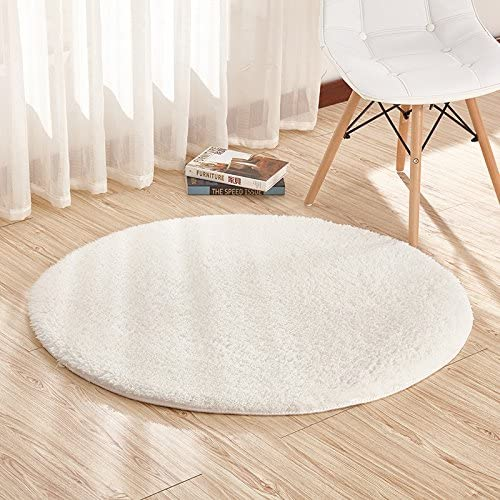 Furnily Area Rugs Super Soft Round Shaggy Area Rugs and Carpet Sitting Room Bedroom Home Carpet Computer Chair Cushion Diameter 4-Feet White