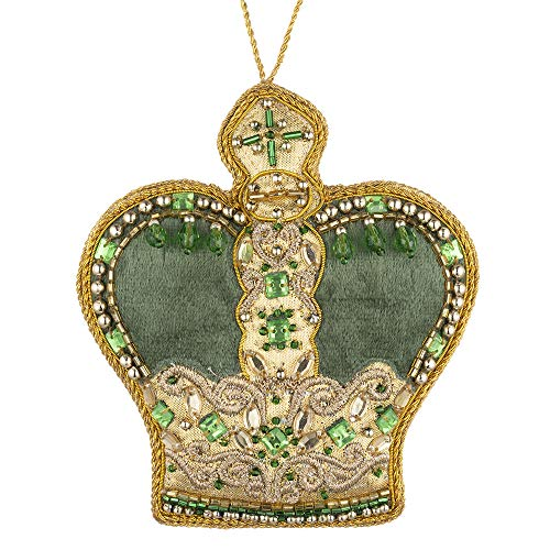 THE METROPOLITAN MUSEUM OF ART Green and Gold Jeweled Crown Felt Christmas Tree Ornament