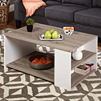 Storage/Style Urban Coffee Table - Features Open 3 Shelves - Constructed of Laminated MDF - Modern Style - Sonoma Oak/White Finish