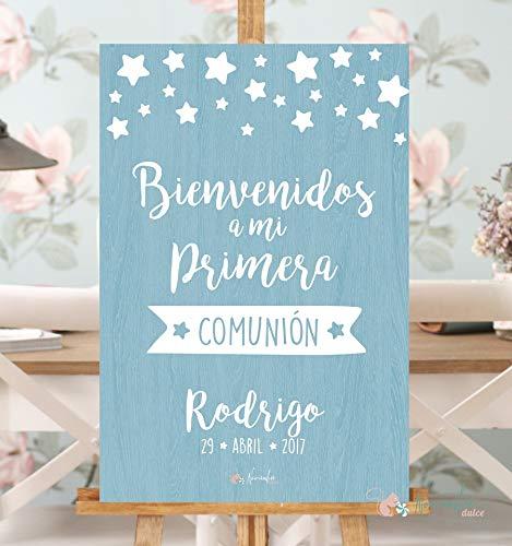 Noviembre Dulce Cartel Bienvenido Comunión Azul (60x40)