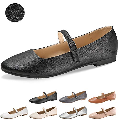 CINAK Flats Mary Jane Shoes Women's Casual Comfortable Walking Buckle Ankle Strap Fahion Slip On (5-5.5 B(M) US/ CN37 / 9.2, Black)