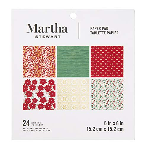 (Martha Stewart 30068359 Paper Pad-Red/White/Greenery 6x6 Paperpad, 6 x 6 inches,)
