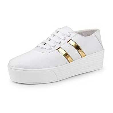 official photos aa792 7f9f9 Shoefly Women White-993 Casual Sneakers Shoes