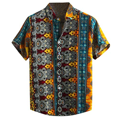 NIUQI Men's Cotton Printed Hawaiian Breathable Casual Short Sleeve Loose Shirts