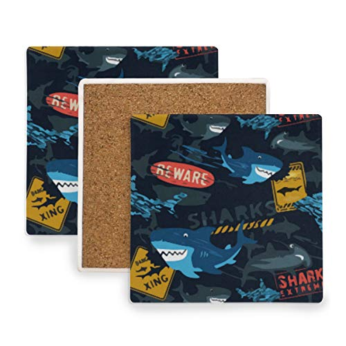 Shark Extreme Halloween Beware Ceramic Coasters for Drinks,Square 4 Piece Coaster Set