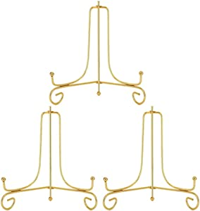 LIONWEI LIONWELI 8 Inch Gold Iron Plate Stand Holder Easel Display Stand for Plate,Picture,Photo and More,3 pcs.