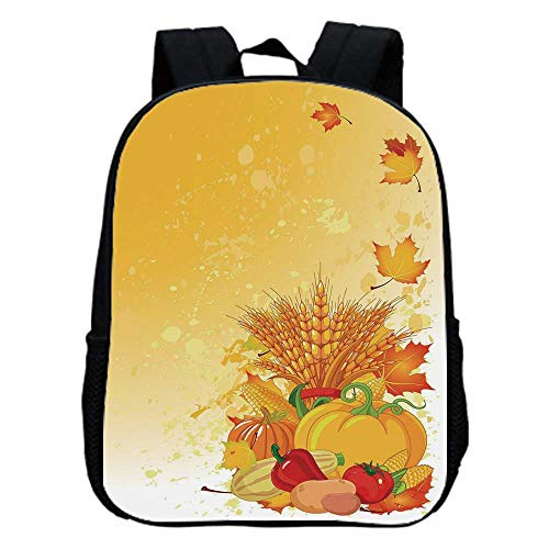 - Harvest Fashion Kindergarten Shoulder Bag,Vivid Festive Collection of Vegetables Plump Pumpkins Wheat Fall Leaves Decorative For Hiking,One_Size