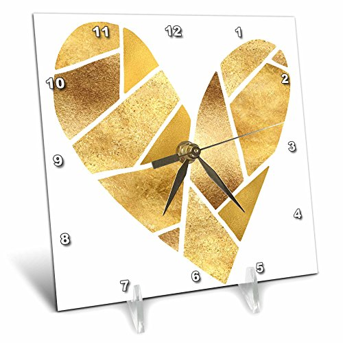 3dRose PS Glam - Gold Pieces Glitz Glam Heart - 6x6 Desk Clock (dc_280761_1) by 3dRose (Image #1)