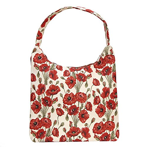 Tapestry Hobo HOBO Beach Signare Women Poppy Zip Shoulder Top Flowers Bag POP 1nSU7d6q