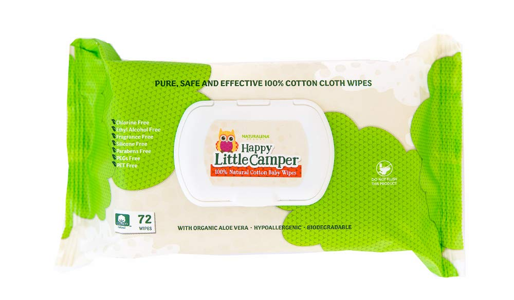 Happy Little Camper Natural Cotton Baby Wipes, 72 Count Naturalena Brands