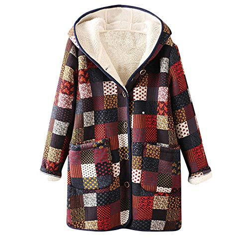 Morecome Womens Colorful Warm Outwear Lattice Print Hooded ...