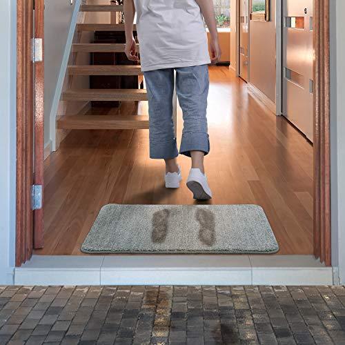 Entrance Mat - Lifewit Indoor Doormat Super Absorbent Mud and Water Low-Profile Mats Machine Washable Non Slip Rubber Entrance Rug for Front Door Inside Dirt Trapper Mats Shoes Scraper - Grey, 18