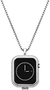 NICERIO 44mm Smart Watch Case Metal Diamond Necklace Pendant Watch Case Compatible with Apple Watch Series 4 (Silver)