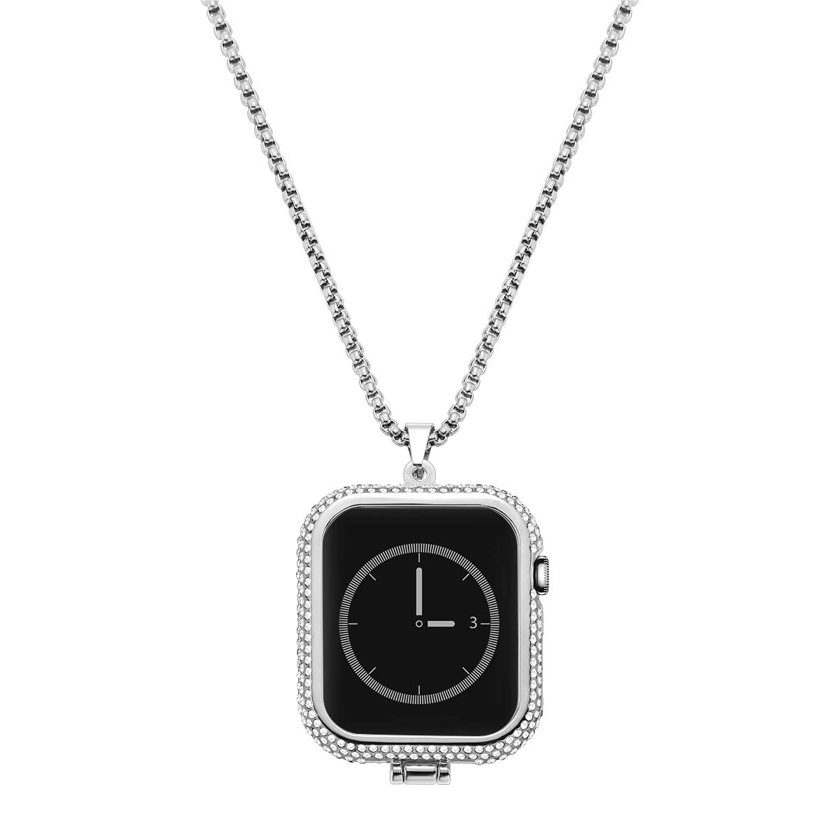 NICERIO Diamond Metal Frame Protective Case Bumper Necklace Pendant Replacement Compatible with Apple Watch Series 4 Silver (40mm) by Hemobllo