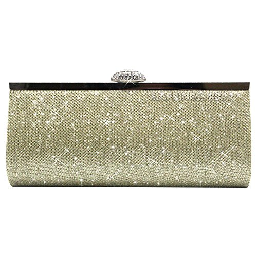 Glitter Party Prom Evening Wocharm Gold Bag Synthetic Gold Clutch Womens Sparkly Black Silver Bridal aHq4HnXI