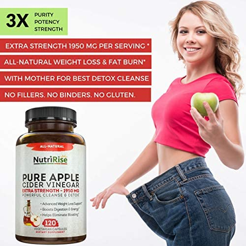 Apple Cider Vinegar Capsules for Weight Loss & Cleanse - 100% Pure Extra Strength 1950mg - 120 Natural Diet Pills for Women & Men for Bloating & Constipation Relief, Digestion & Energy Boost 5