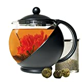 Primula Half-Moon Teapot with 3 Flowering Teas, 40 oz, Black