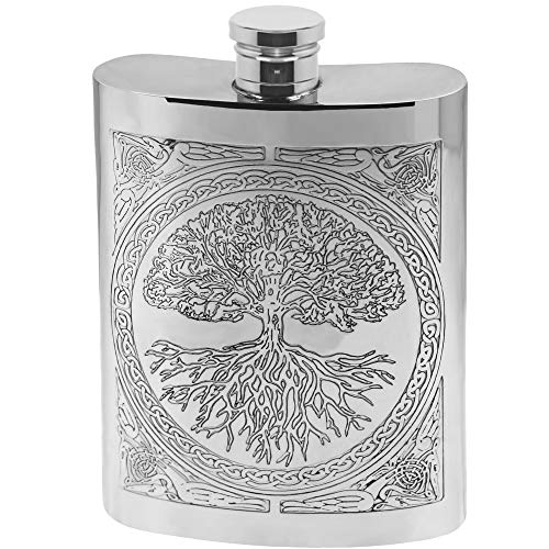 - English Pewter Company Celtic Design Tree of Life 6oz Pewter Liquor Hip Flask [CEL601]