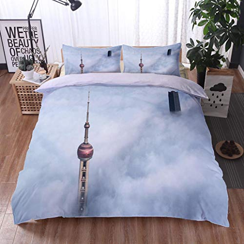 (HOOMORE Bed Comforter - 3-Piece Duvet -All Season, Shanghais Oriental Pearl Tower and Skyscraper in The Thick Fog China,HypoallergenicDuvet-MachineWashable -Twin-Full-Queen-King-Home-Hotel -School)