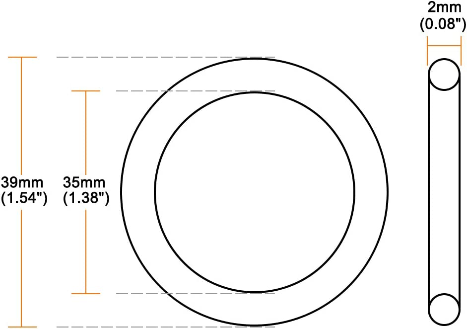 2mm Width Round Seal Gasket Pack of 10 35mm Inner Diameter uxcell O-Rings Nitrile Rubber 39mm OD