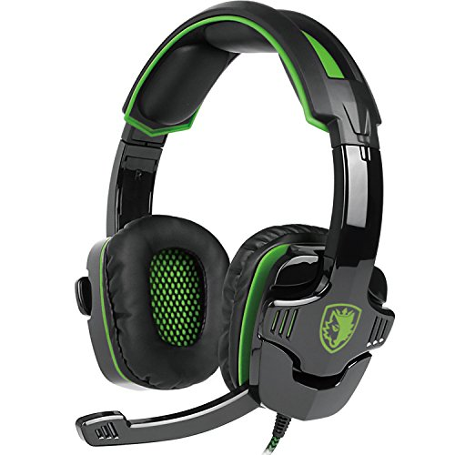 MeterMall New Protable [2016 New Updated Headset] SADES SA930 3.5mm Wire Headset with Microphone,Volum Control,Noise Isolating Stereo Sound for PC/PS/Mac/Phone(Black Green) ()