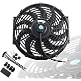 MOSTPLUS Black Universal Electric Radiator Slim Fan Push/Pull 12V + Mounting Kit (12 Inch)