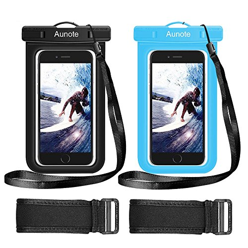 Waterproof Phone Case Aunote Universal Dry Bag Pouch With Lanyard Armband Best carrying case For iPhone 7 6 6S Plus 5S SE Samsung Galaxy S7 S6 S5 S4, Note 5 4 3 Cell Phone Holder (Black+Blue)