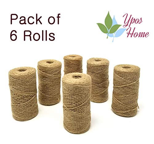 YposHome Natural Jute Twine 1968 Feet (2 ply, 6 pcs x 328 Feet) Crafts Art Gift Industrial Packing Rope Materials Jute String DYI Decoration and Gardening Applications (Natural, 6 -