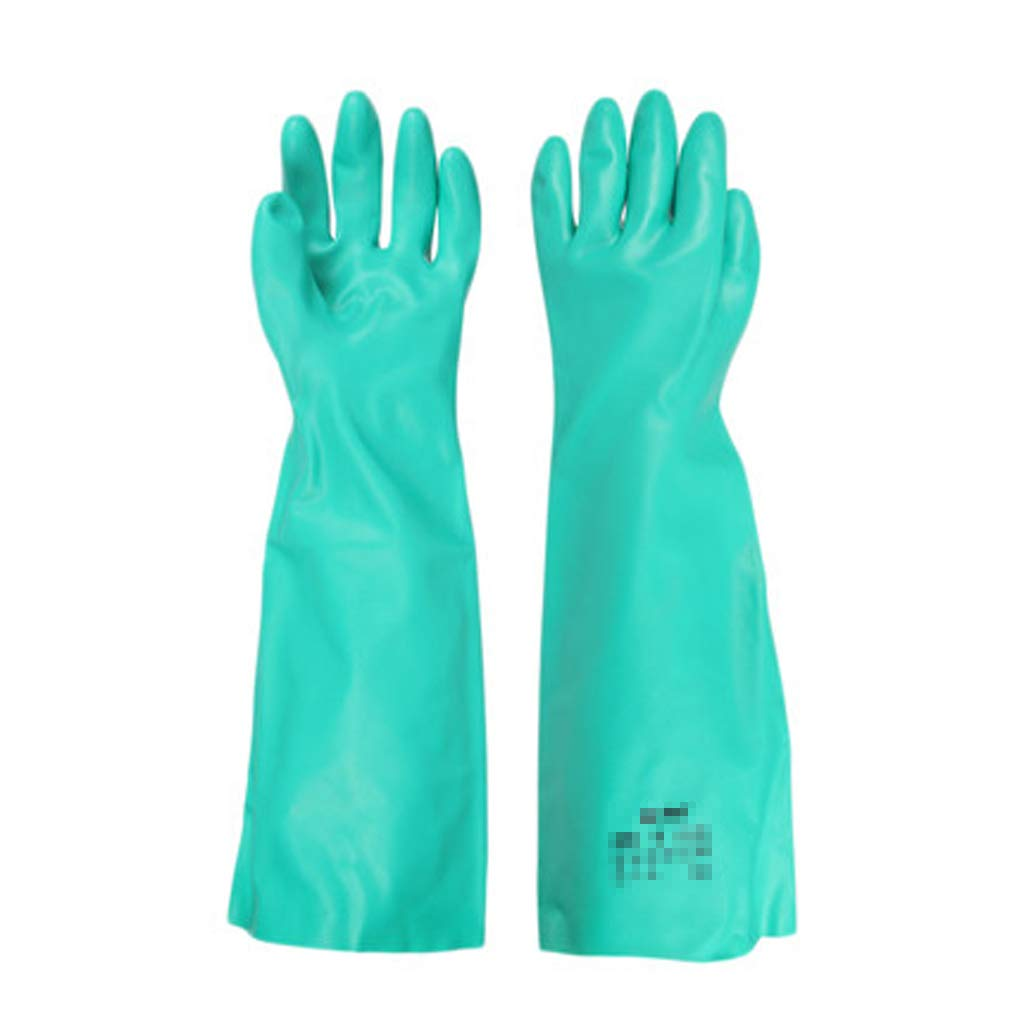 SHWSM Long Sleeve Waterproof Long Thick Nitrile Rubber Chemical and Acid Resistant Chemical Gloves