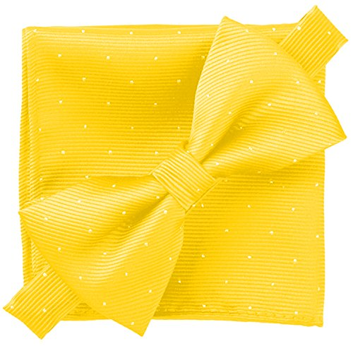 - Flairs New York Gentleman's Essentials Bow Tie and Pocket Square Matching Set (Golden Yellow [Glitter Dot Print])