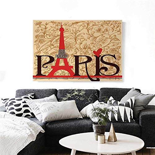 homehot Vintage Modern Canvas Painting Wall Art Paris Vintage Floral French Eiffel Tower City Holiday Stylish Postcards Gifts Art Stickers 24