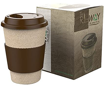 Travel Mug Coffee Tea 14oz Reusable Takeaway Eco Cups of Natural Resistant Material 100% Organice & BPA Free Rice Husk Mugs with Leakproof Silicone Lid