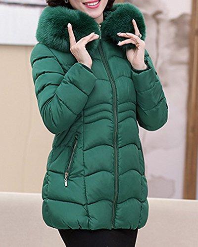 Mi Longue Slim Femme Vert Manteau Veste Doudoune Fit Capuche Blouson Parka fwBYZq4