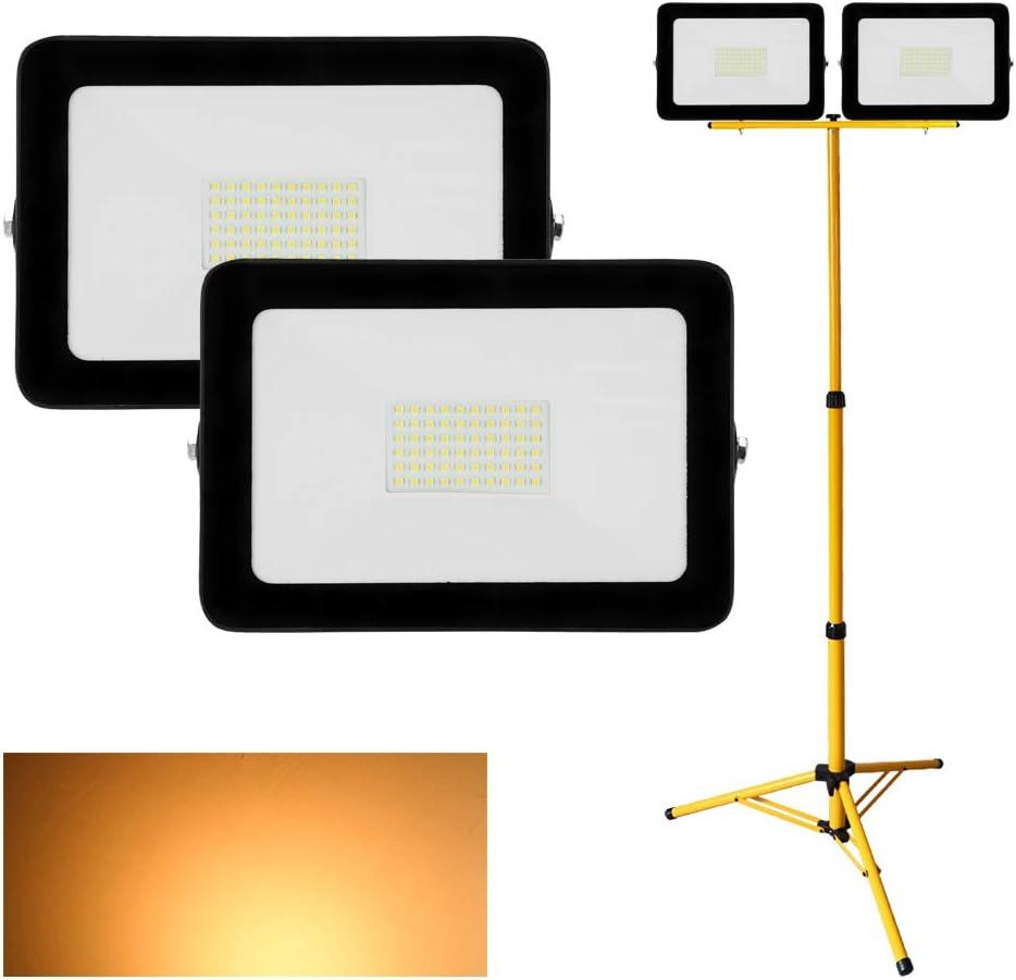 LED Baustrahler Scheinwerfer mit Strahler Stativ H/öhenverstellbar Hengda LED Au/ßenstrahler mit Stativ IP65 Wasserdicht Fluter Strahler 2 St/ück 100W 80CM bis 160CM 3000K Warmwei/ß 8000LM