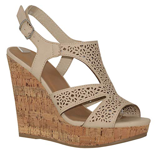 - MVE Shoes Women's Fashion Cutout Ankle Strap Flower Deco Platform Sandals, Succory Taupe PU 6